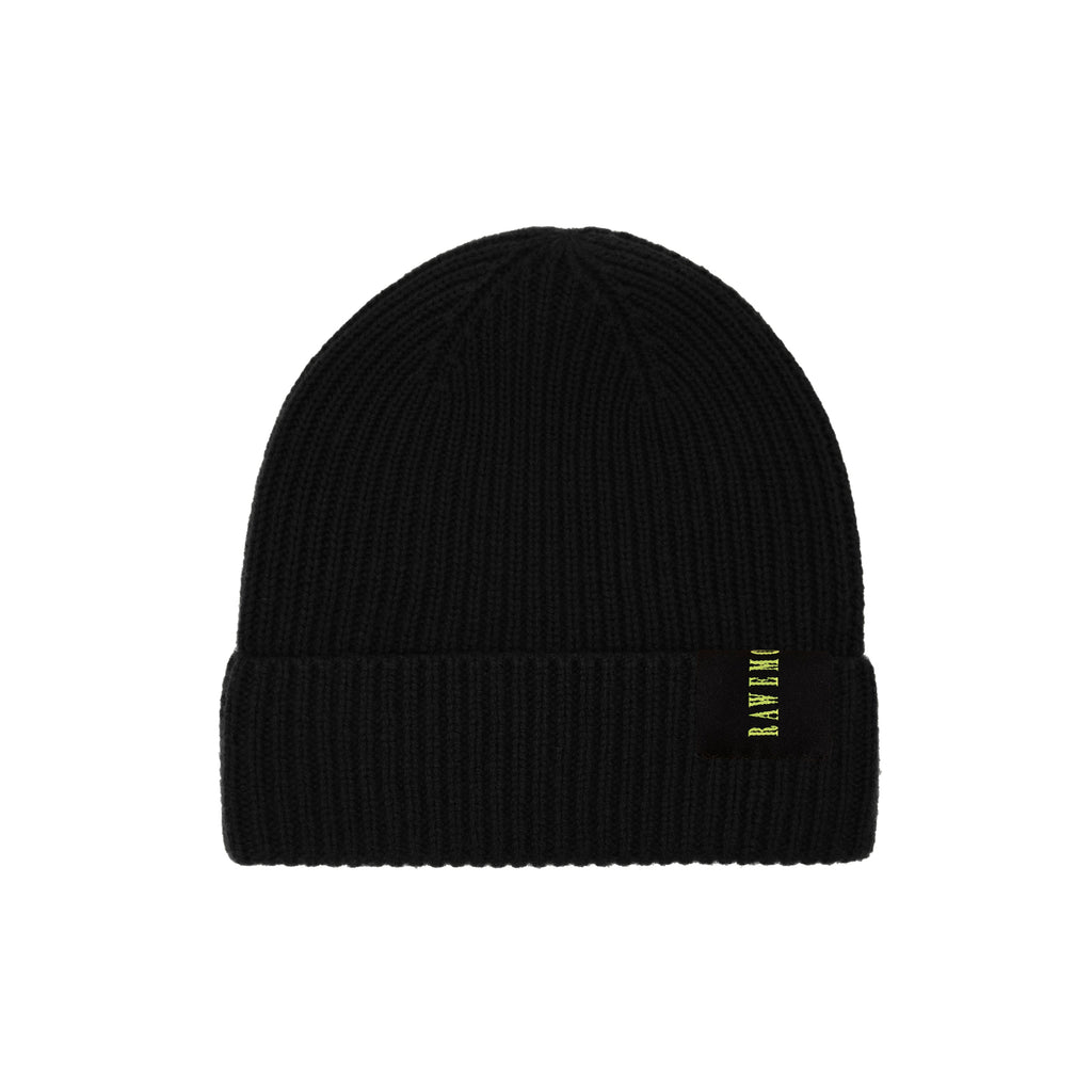 Black Rawemotions Label Knit Beanie
