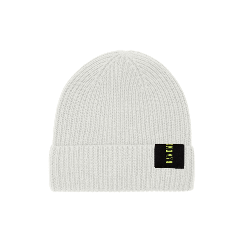 White Logo Label Knit Beanie