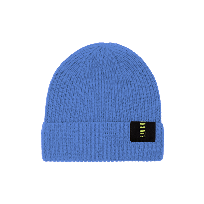 Demin Blue Logo Label Knit Beanie