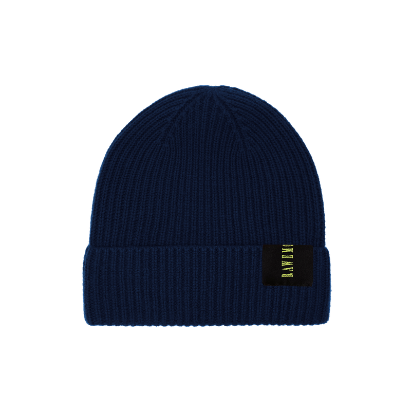 Navy Blue Logo Label Knit Beanie
