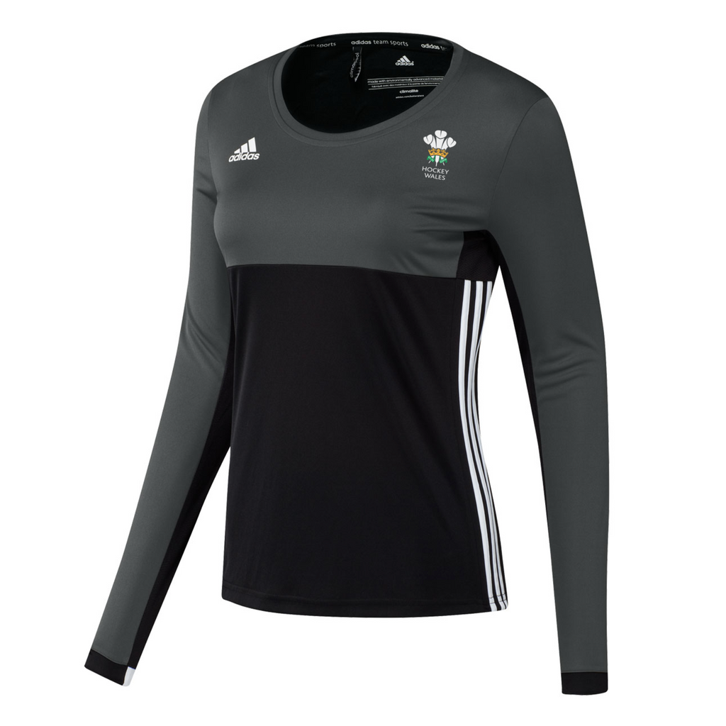 Wales Hockey Replica Playing Shirt (Youth, Girls, Black, Long Sleeves)