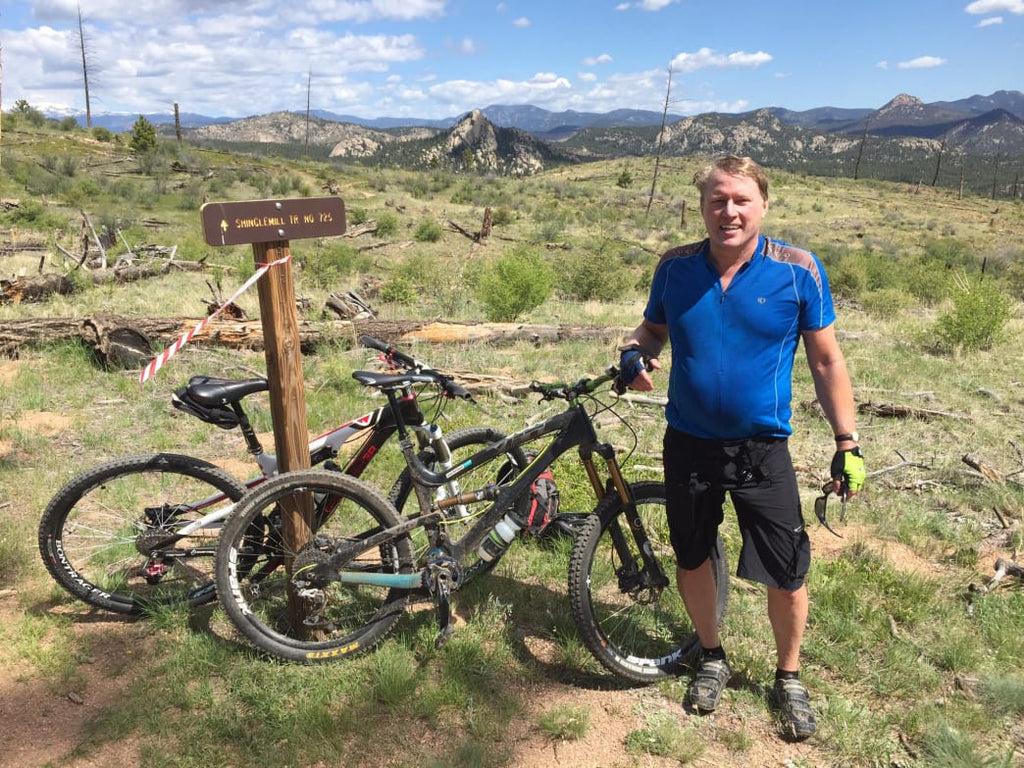 Kent Thiry preparing for the Bailey Hundo 100-mile mountain bike race at Buffalo Creek.