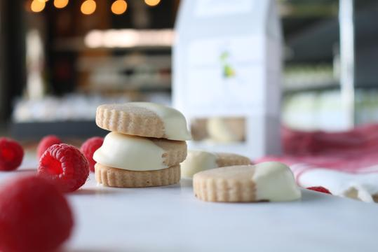 Raspberry White Chocolate Dipped Shortbread