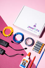 Load image into Gallery viewer, Jewelbits Science Kits: Hello World, Neon -  DIY Party Set (2 White Bands)