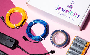 Jewelbits Science Kits: Hello World, Neon (Ages 5-10) -  DIY Party Set (2 White Bands)
