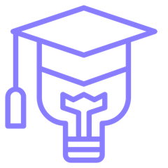 graphic of lightbulb with graduation cap.