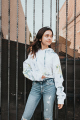 Optimism Crop Tie Dye Hoodie in White