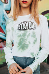 Stay-you Long Sleeve Tie-Dye Crop Tee