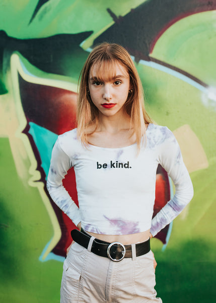Be Kind. Embroidered Long-Sleeve Tie Dye Fitted Top