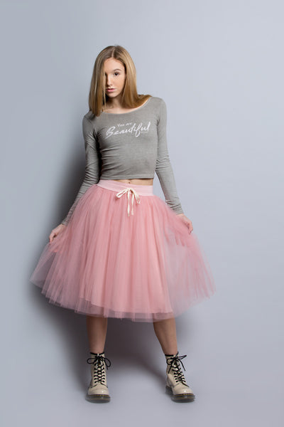Jersey Lined Tulle Skirt Blush