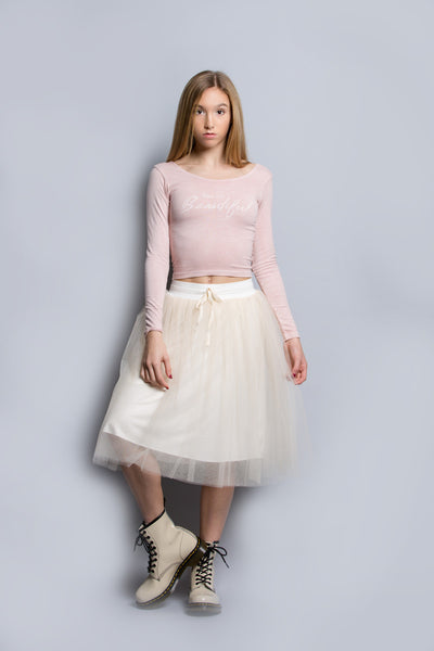 Jersey Lined Tulle Skirt in Butterscotch