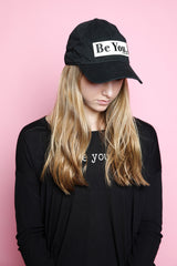 BE YOU Embroidered Patch Baseball Cap in black