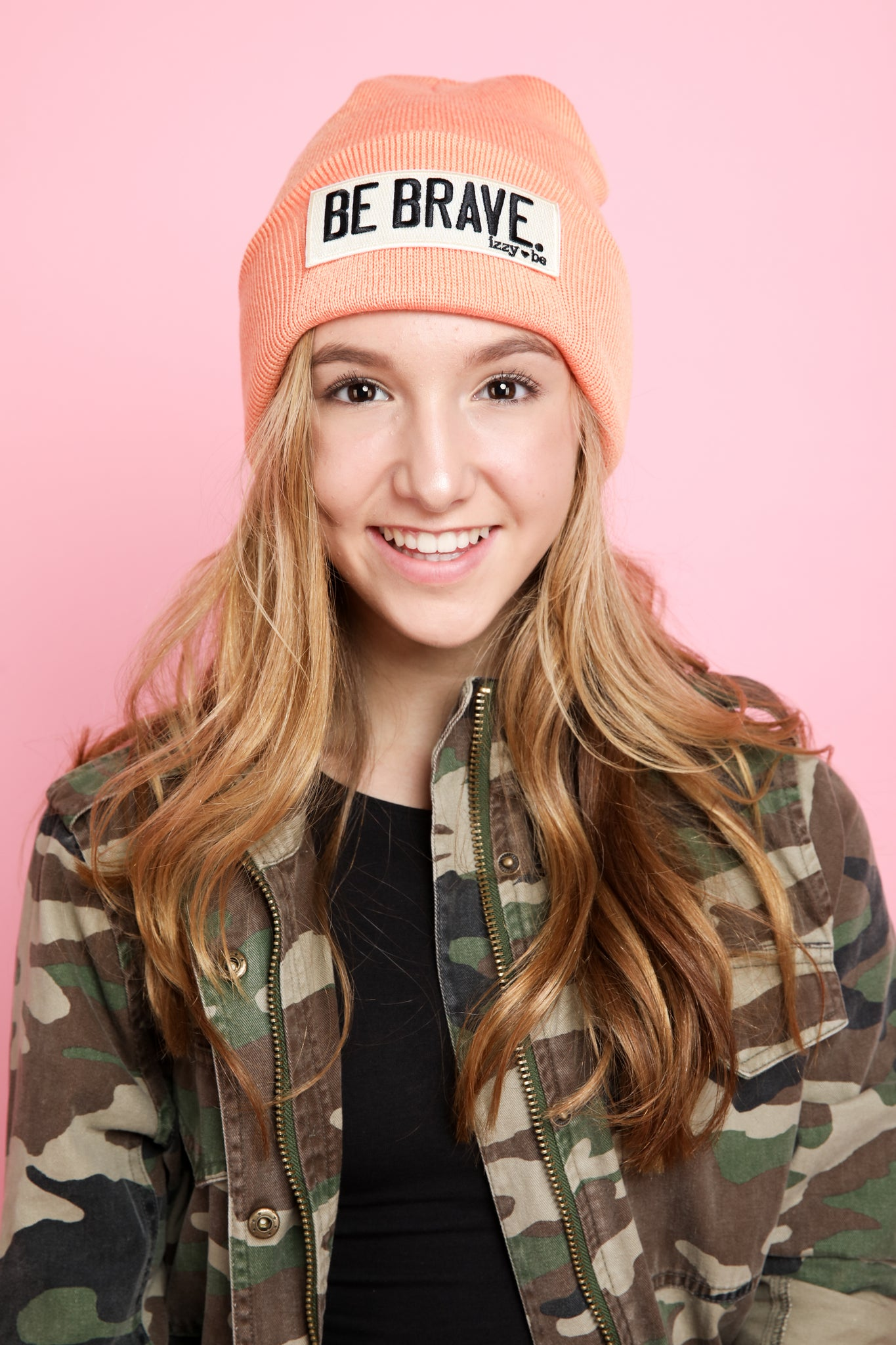BE BRAVE. Embroidered Patch Beanie in Apricot
