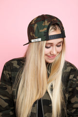 BE KIND. Patch Snapback Hat in camo