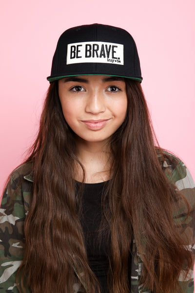 BE BRAVE. Patch Snapback Hat in black