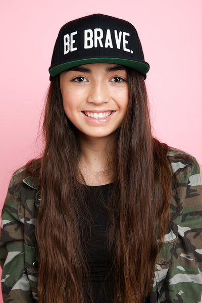 BE BRAVE. Embroidered Snapback Hat in black