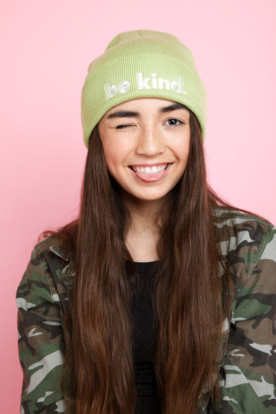 BE KIND. Embroidered Beanie in pistachio