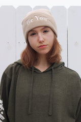 BE YOU Embroidered Beanie Tan