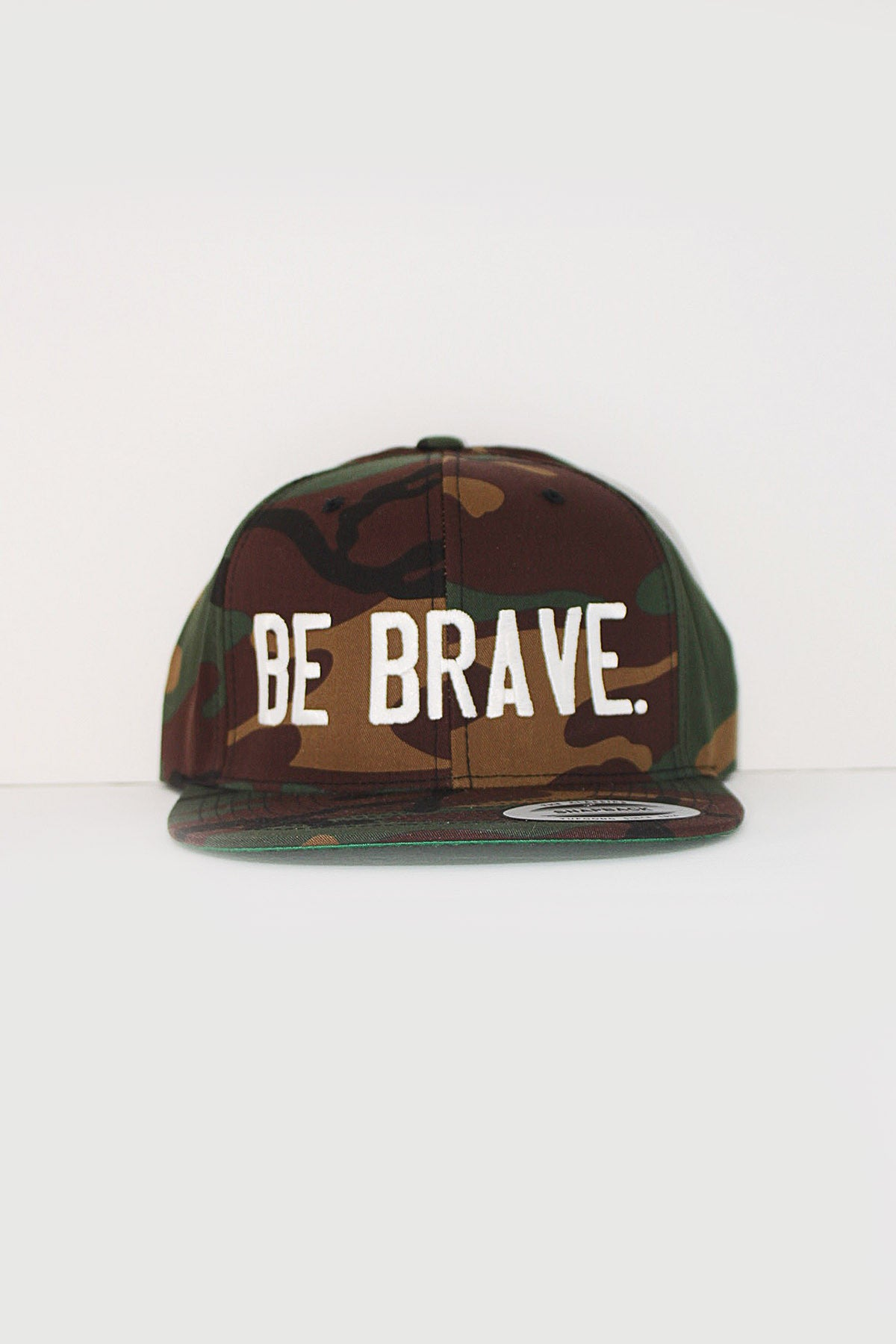 BE BRAVE. Embroidered Snapback Hat in camo