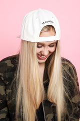 BE KIND. Embroidered Snap Back Hat in Cream