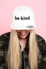 BE KIND. Embroidered Snapback Hat in Cream