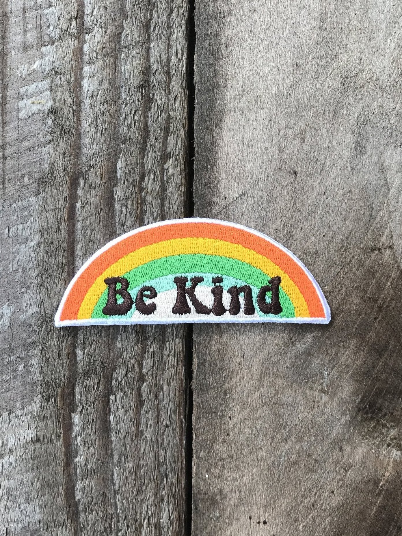 BE KIND Retro Rainbow Embroidered Patch