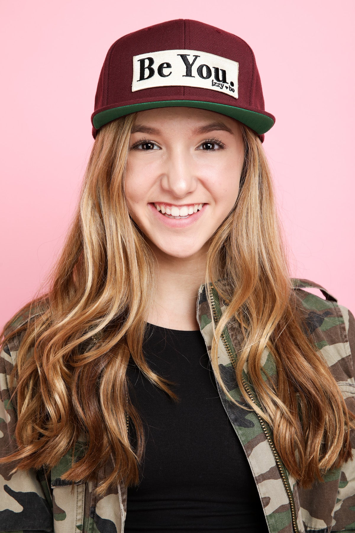 BE YOU. Patch Snapback Hat in burgandy