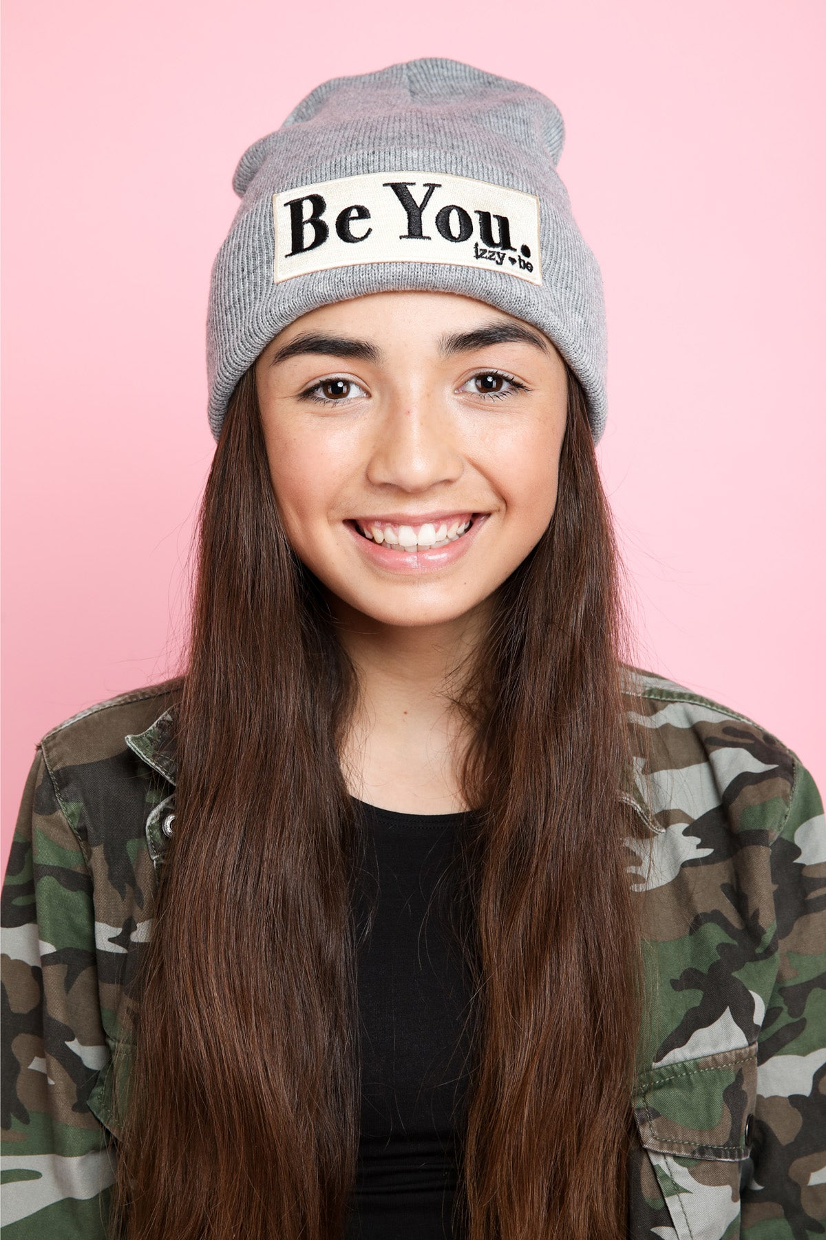 BE YOU. Embroidered Patch Beanie in Heather Grey