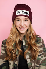 BE YOU. Embroidered Patch Beanie in Maroon