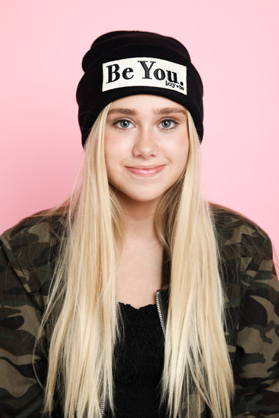 BE YOU. Embroidered Patch Beanie in Black