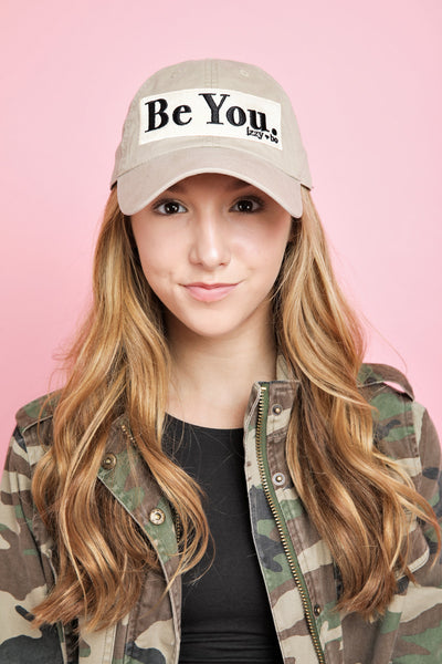 BE YOU Embroidered Patch Baseball Cap in tan