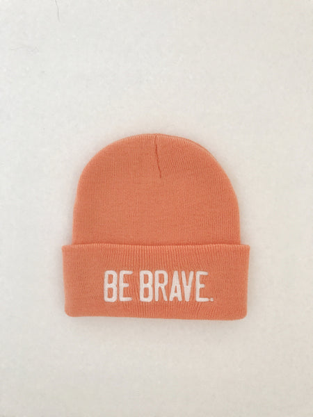 BE BRAVE. Embroidered Beanie Apricot