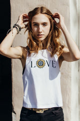 Sunflower Love Muscle Tank in white