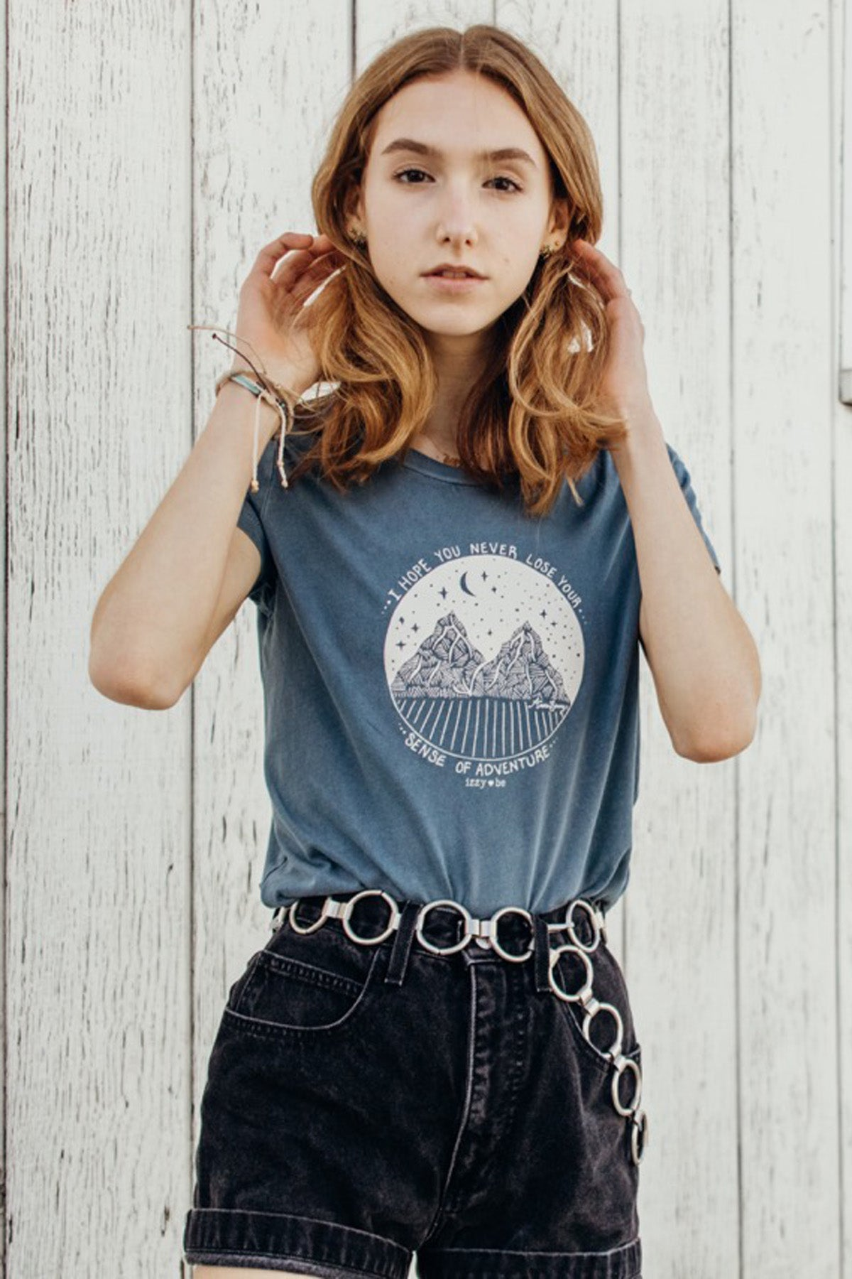 I Hope You never Lose Your Sense Of Adventure. Perfect Tee in Vintage Light Blue