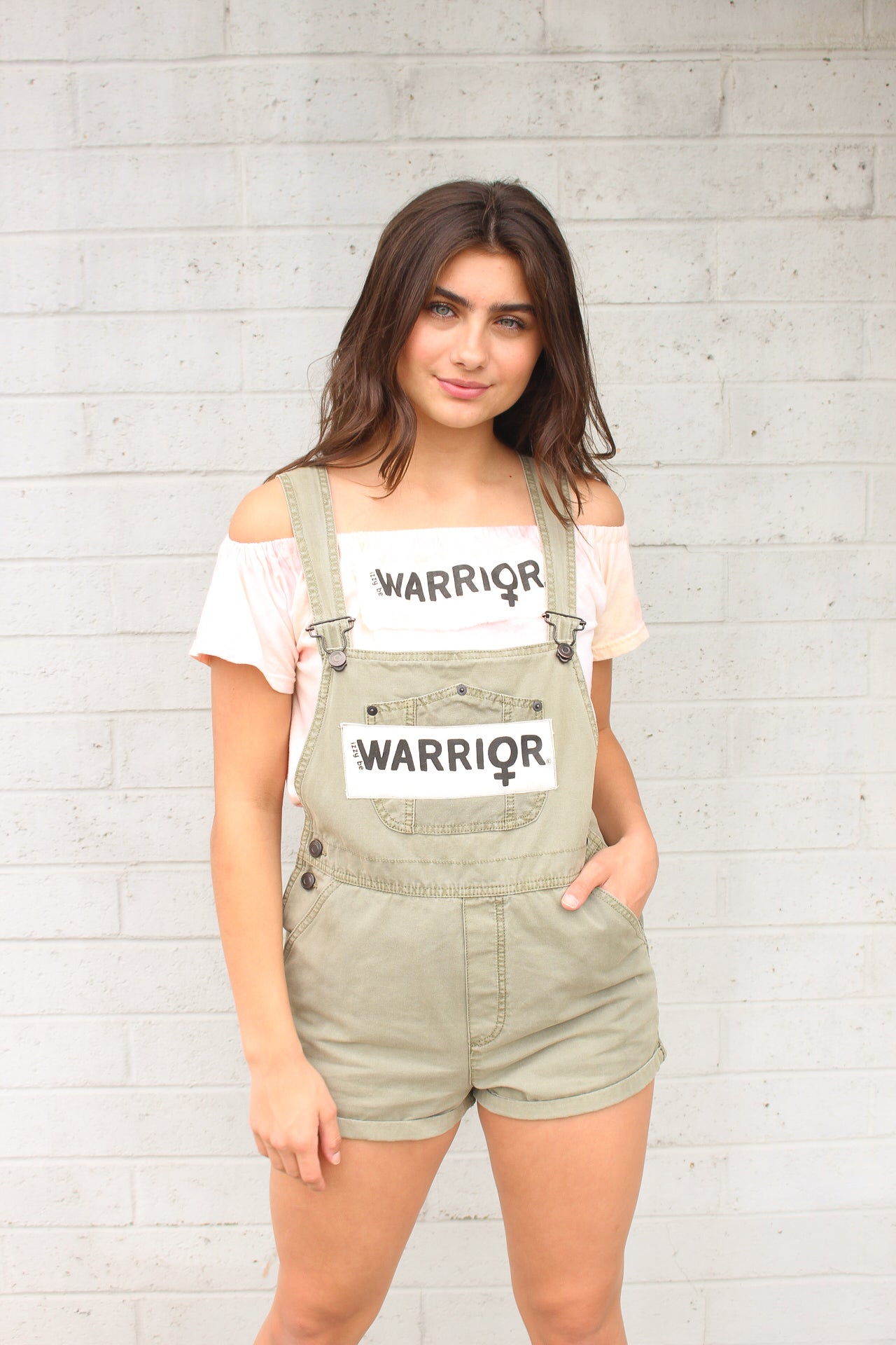 Warrior Army Green Overall Shorts