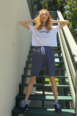 Warrior Navy Embroidered Sweat Shorts