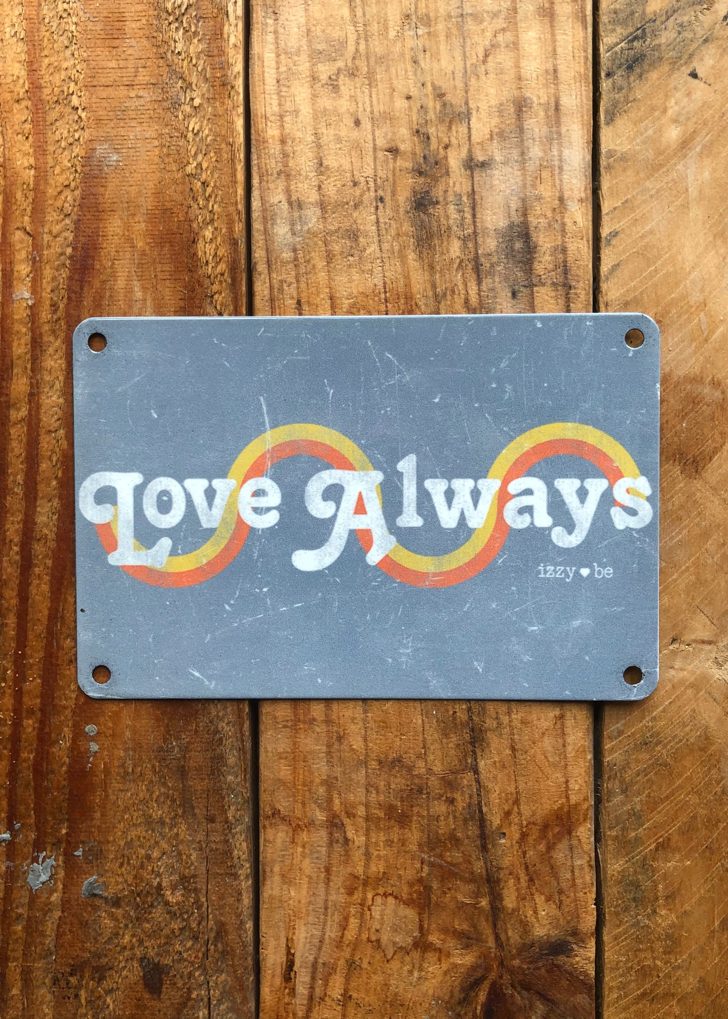 LOVE ALWAYS Vintage Metal Postcard Print