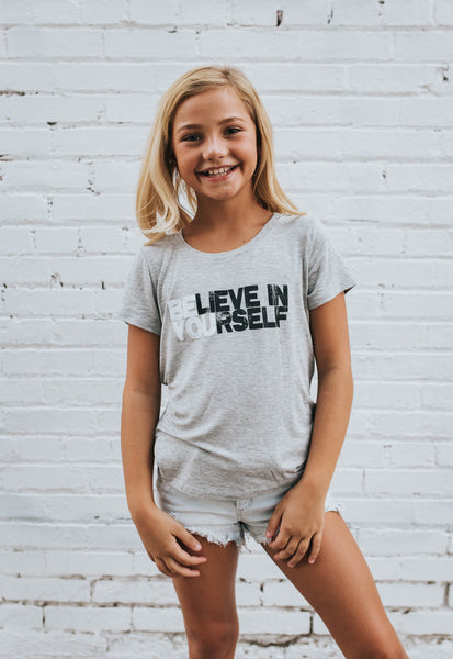 Believe in Yourself Tee in Heather Grey