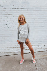 Be Free Long Sleeve Tee in Heather Grey