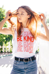 BE KIND Stacked Classic Muscle Tank in white
