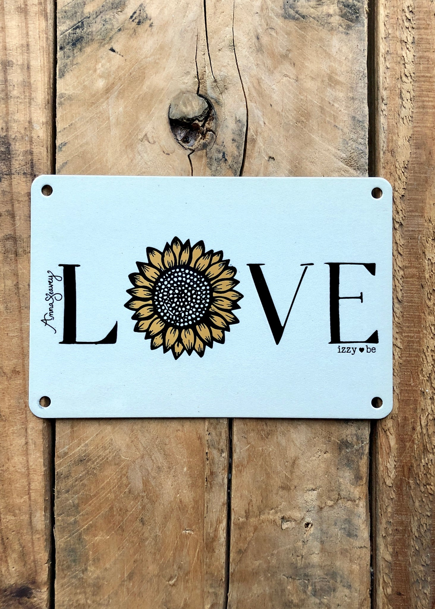 Sunflower Love Vintage Metal Postcard Print