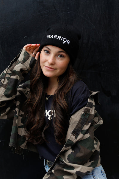 Warrior Black Embroidered Beanie