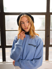 Warrior Blue Embroidered Cropped Sweatshirt