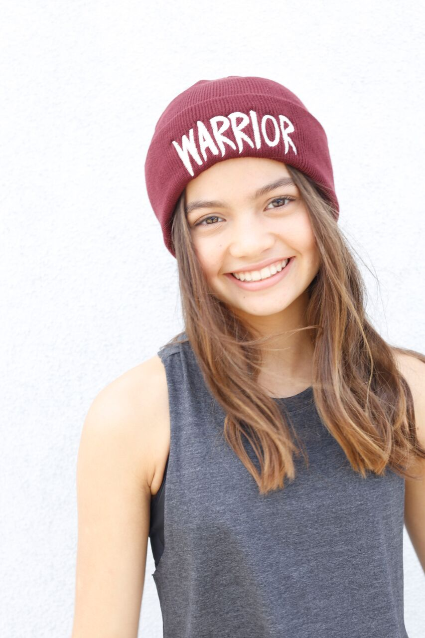 WARRIOR Embroidered Emblem Beanie in burgandy