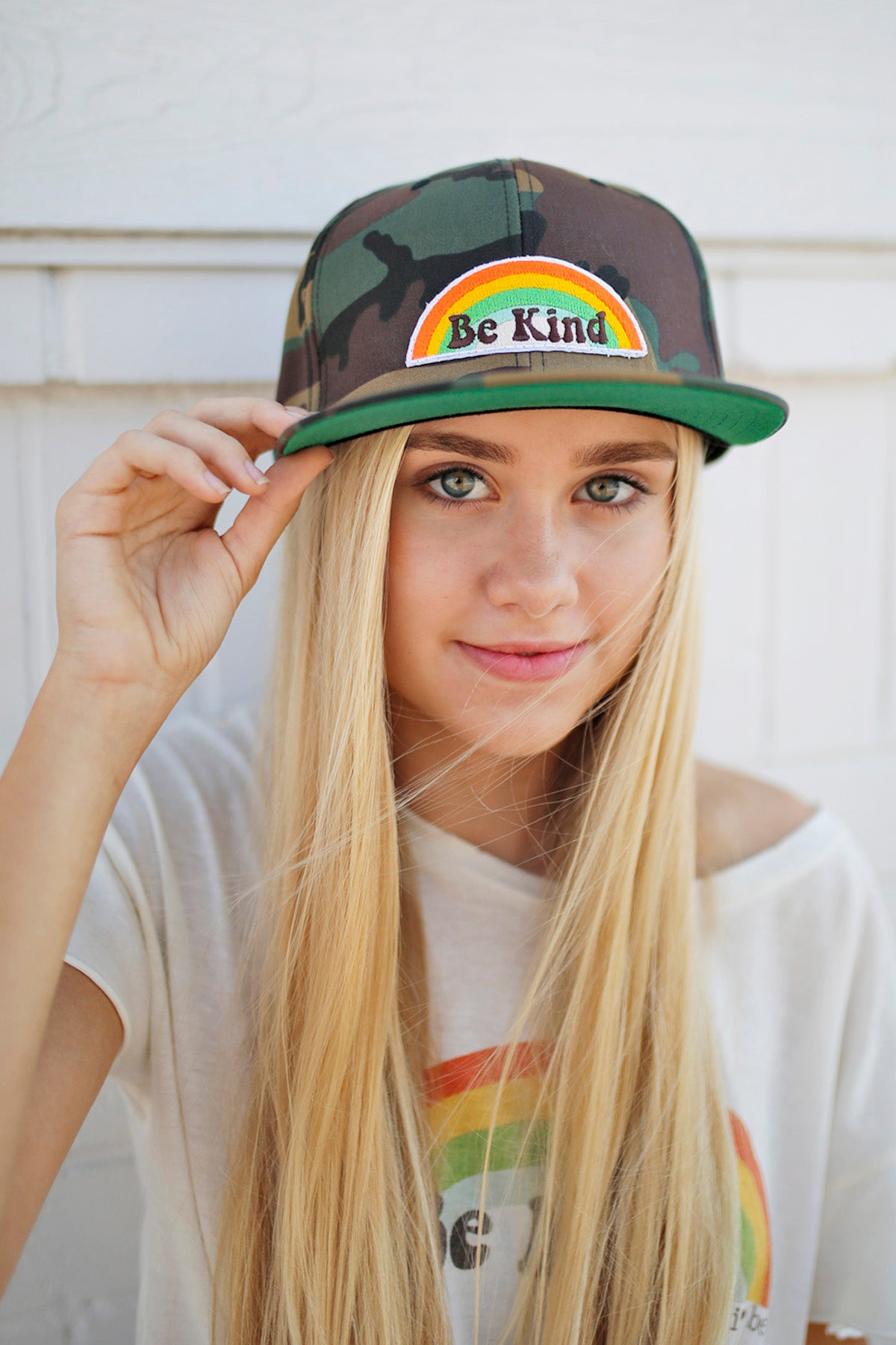 BE KIND Rainbow Patch Snapback Hat in camo