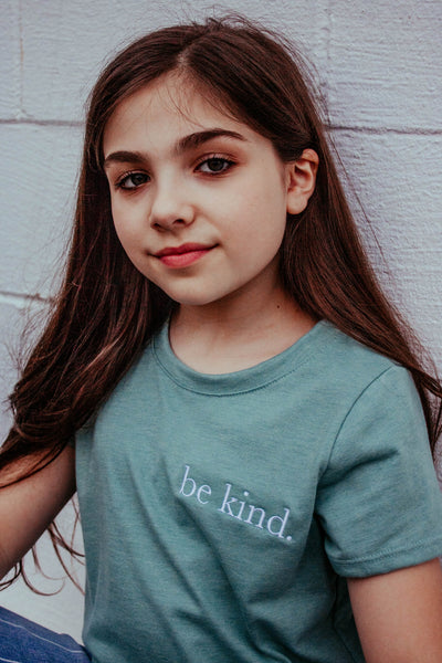 Be Kind embroidered perfect tee in sage green