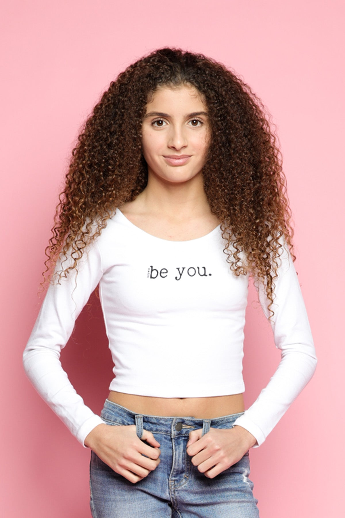 BE YOU. Long-Sleeve Fitted Top in white