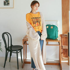 Thicken Fashion Autumn Winter Solid Color Open Stitch Long Knitted Sweater Loose V-neck Cardigans Casual Knitwear Feminino