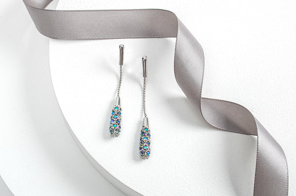 Purple Mix Crystal Pave Drop Earrings