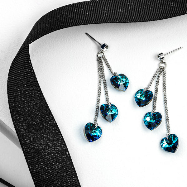 Bermuda Blue Triple Crystal Heart Drop Earrings